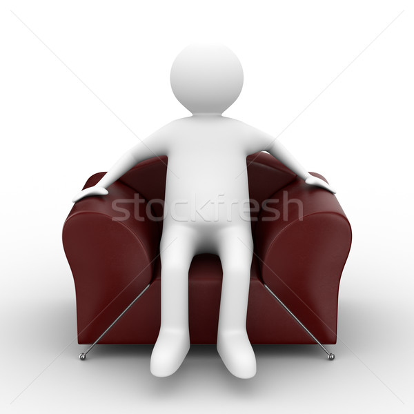 person sitting in armchair. Isolated 3D image Stock photo © ISerg