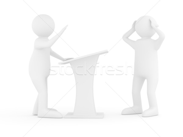 man on tribune. Isolated 3D image on white Stock photo © ISerg