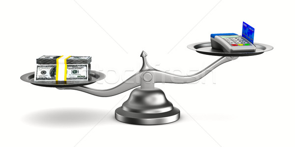 pos terminal and money on scale. Isolated 3D image Stock photo © ISerg