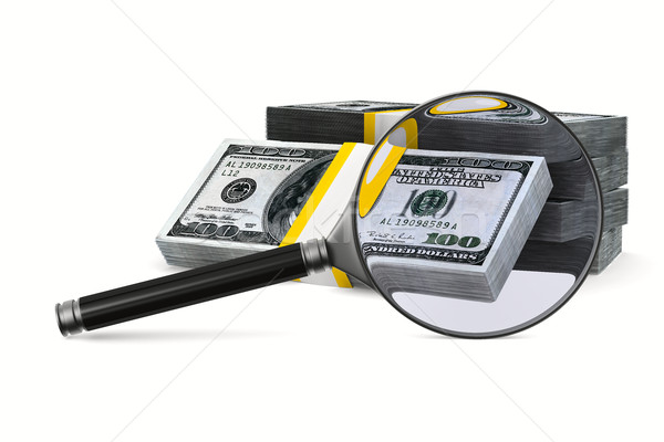 Magnifier and money on white background. Isolated 3D image Stock photo © ISerg