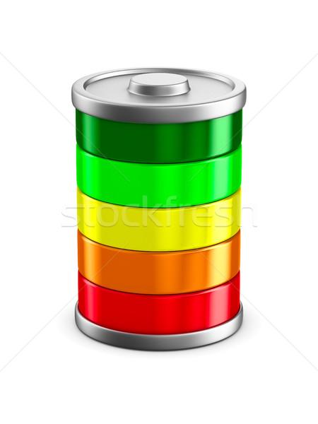 Photo stock: Batterie · blanche · isolé · 3D · image · orange