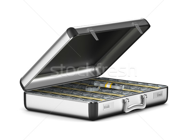 Case with money on white background. isolated 3D illustration Stock photo © ISerg