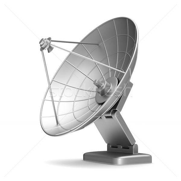 Satelitarnej antena biały odizolowany 3d ilustracji projektu Zdjęcia stock © ISerg