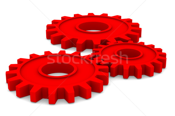 Three red gears on white background. Isolated 3D image Stock photo © ISerg