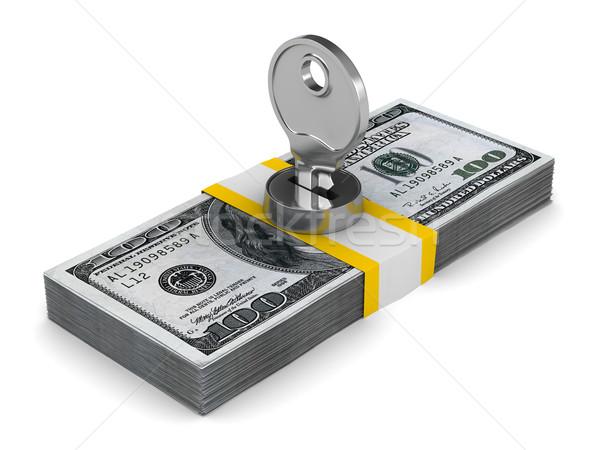 Stock fotó: Kulcs · csomag · dollár · izolált · 3D · kép