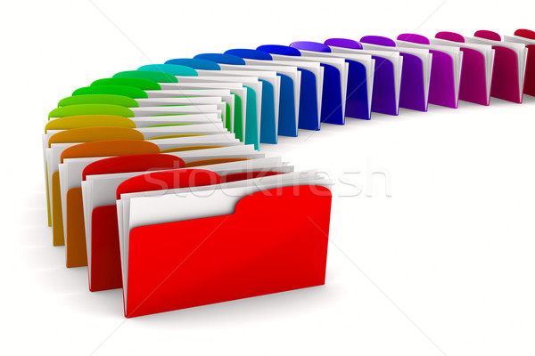 multicolor computer folder on white background. Isolated 3d imag Stock photo © ISerg