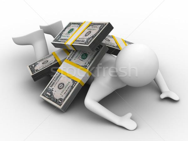 man under money on white background. Isolated 3D image Stock photo © ISerg