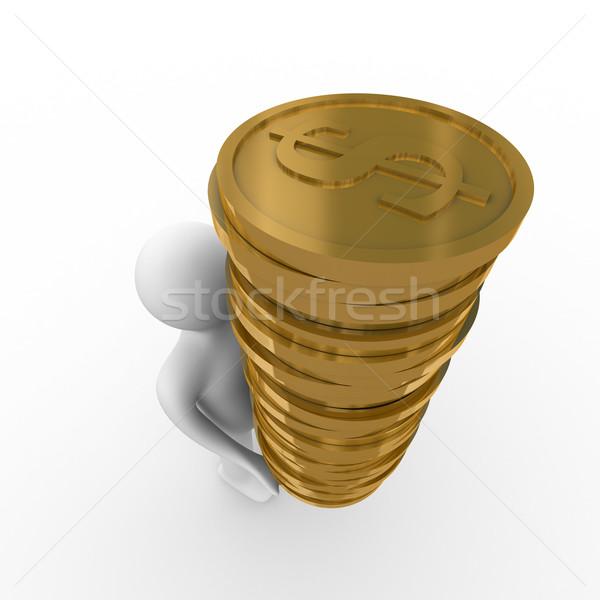 Foto stock: Hombre · dinero · blanco · aislado · 3D · imagen