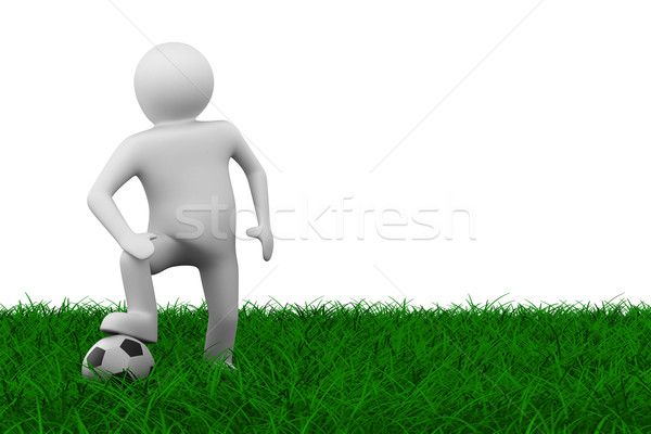 Stock photo: soccer player with ball on grass. Isolated 3D image