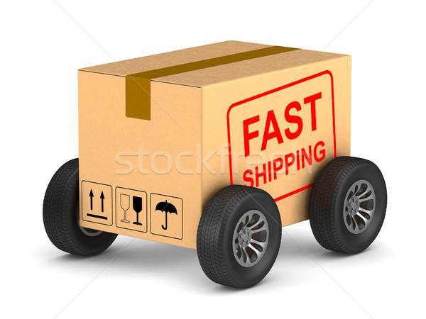 高速 送料 貨物 ボックス ホイール 白 ストックフォト © ISerg