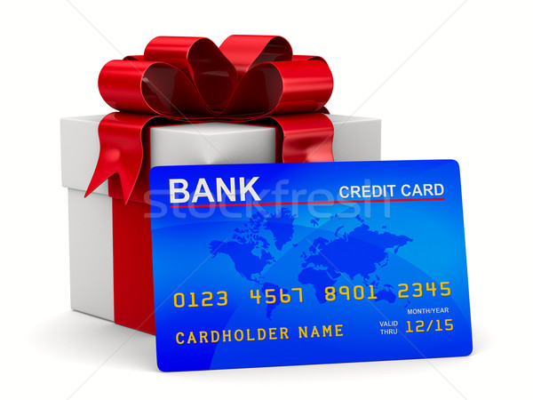 Stock photo: White gift box with credit card. Isolated 3D image