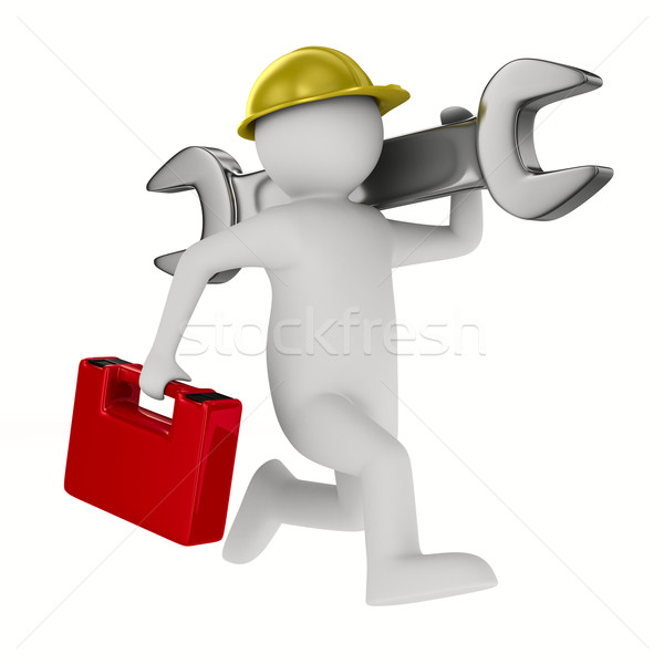 Man with wrench on white background. Isolated 3D image Stock photo © ISerg