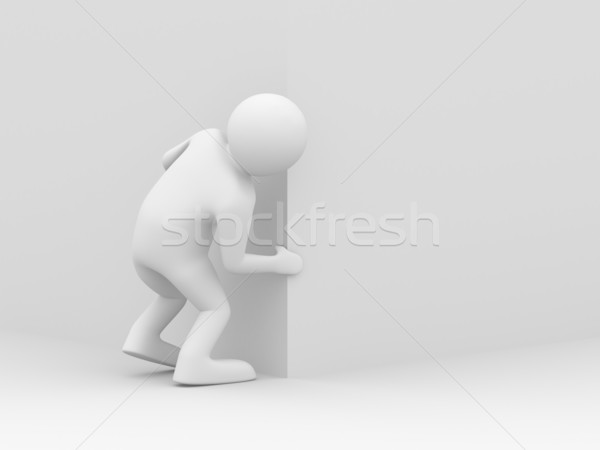 person looks out of corner. 3D image Stock photo © ISerg