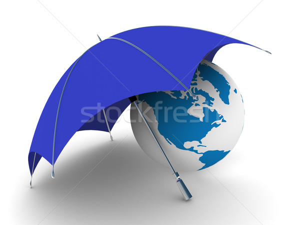 Bescherming milieu geïsoleerd 3D afbeelding wereldbol Stockfoto © ISerg