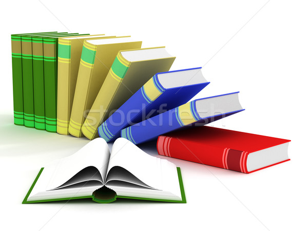 Stock photo: Open and falling books. 3D isolated image.
