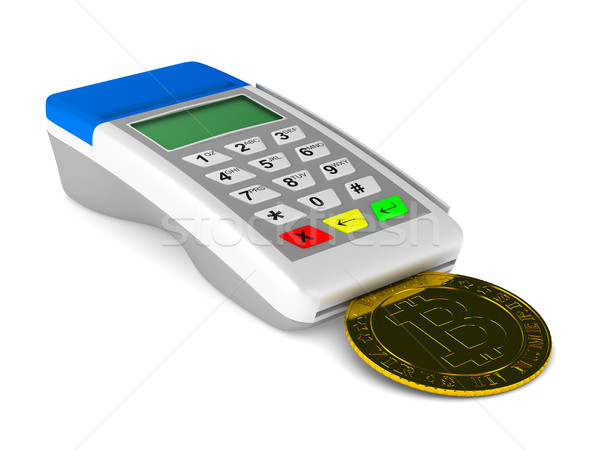 payment terminal and bitcoin on white background. Isolated 3d il Stock photo © ISerg