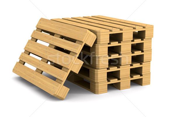 wooden pallet on white background. Isolated 3D illustration Stock photo © ISerg