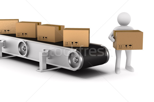 Stock photo: conveyor on white background. Isolated 3D illustration