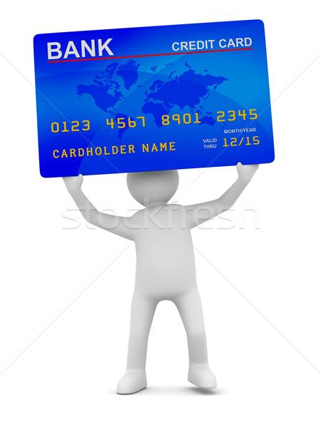 Stock fotó: Férfi · hitelkártya · izolált · 3D · kép · terv