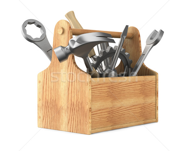 Wooden toolbox with tools. Isolated 3D image Stock photo © ISerg