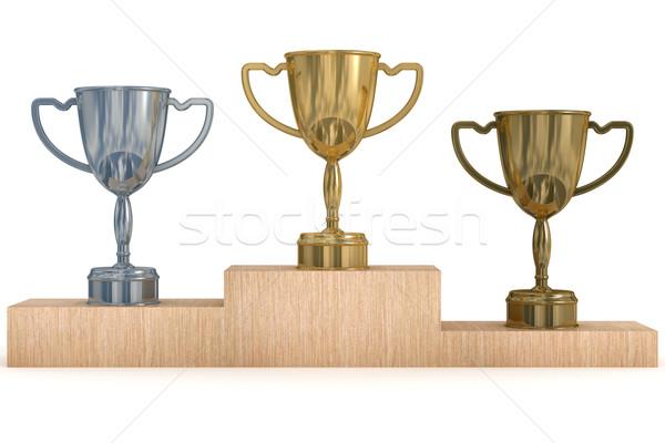 Stock fotó: Csészék · nyertesek · 3D · kép · sport · siker