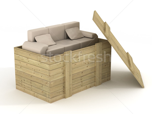Leather sofa in an open box. 3D image. Stock photo © ISerg