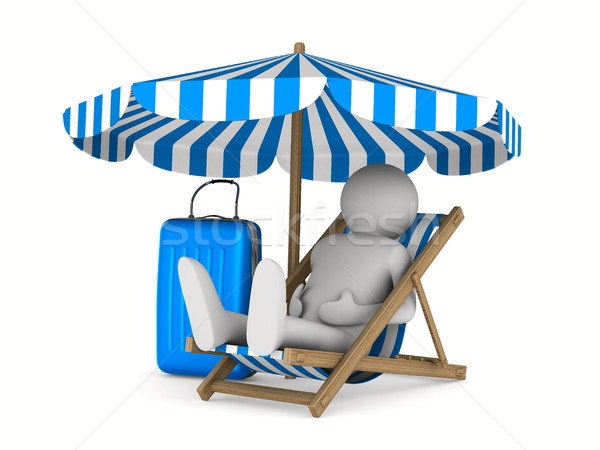 Man on deckchair and luggage on white background. Isolated 3D im Stock photo © ISerg
