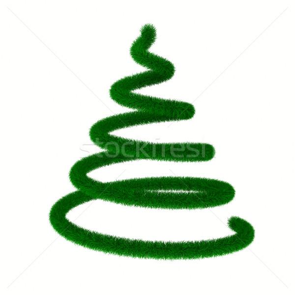 Stock fotó: Karácsonyfa · fehér · izolált · 3D · kép · absztrakt