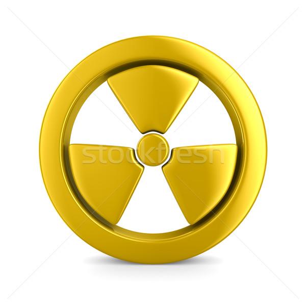 Promieniowanie symbol biały odizolowany 3D obraz Zdjęcia stock © ISerg