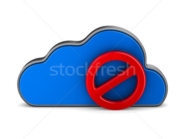 Wolk teken verboden witte geïsoleerd 3D Stockfoto © ISerg