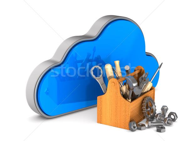 Wolk toolbox witte geïsoleerd 3d illustration technologie Stockfoto © ISerg