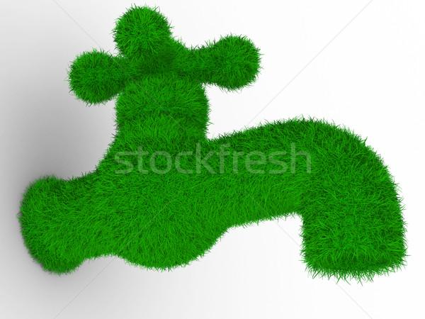 Zdjęcia stock: Dotknij · biały · odizolowany · 3D · obraz · zielone