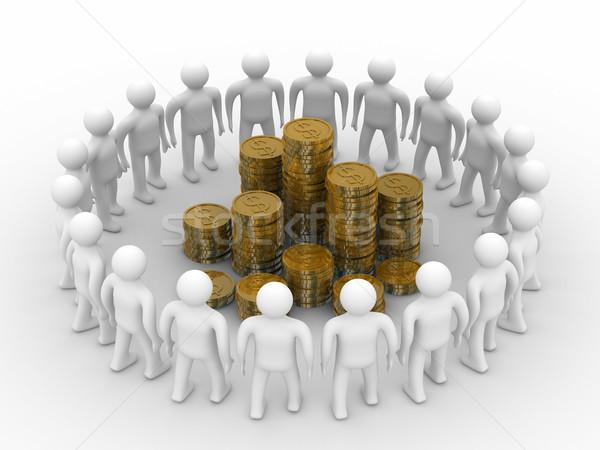 люди Постоянный вокруг деньги изолированный 3D Сток-фото © ISerg