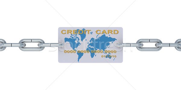 Credit card on a chain. 3D image Stock photo © ISerg