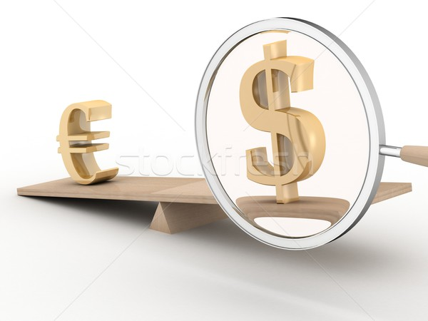 Foto stock: Dólar · euros · escalas · 3D · imagen · vidrio