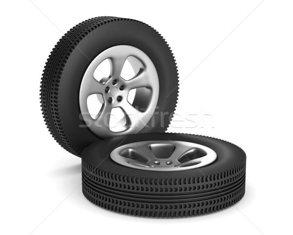 два диск колесо белый изолированный 3D Сток-фото © ISerg
