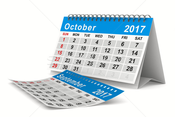 Stock photo: 2017 year calendar. October. Isolated 3D image