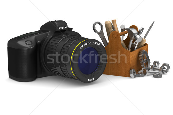 Stockfoto: Dienst · digitale · camera · witte · geïsoleerd · 3D · 3d · illustration