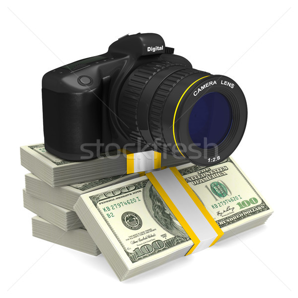 digital camera on white background and money. Isolated 3D illust Stock photo © ISerg