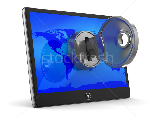 Stock photo: tablet with key on white background. Isolated 3D image