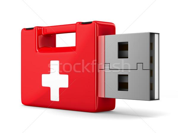 Foto stock: Rescate · usb · unidad · de · memoria · flash · blanco · aislado · 3D