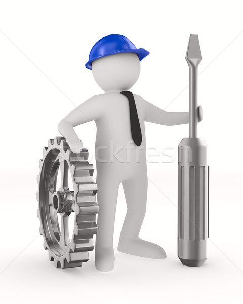 Man with screw driver on white background. Isolated 3D image Stock photo © ISerg