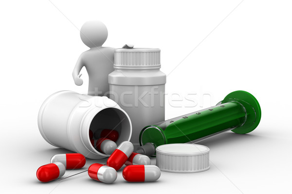 Stock photo: man with bottle for tablets. Isolated 3D image