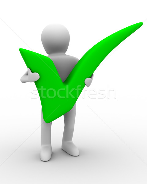 human with big positive symbol. Isolated 3D image Stock photo © ISerg