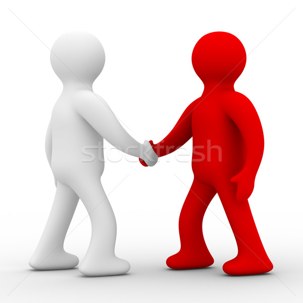 Handshake. Meeting two businessmen. Isolated 3D image. Stock photo © ISerg