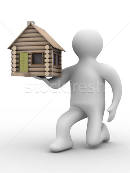 Foto stock: Casa · regalo · 3D · imagen · aislado · ilustraciones