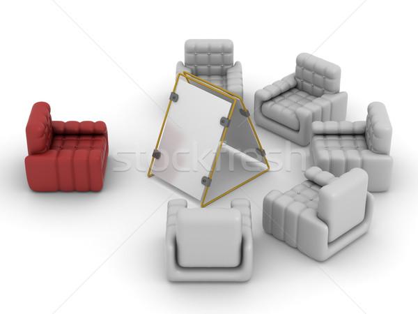 Сток-фото: интерьер · гостиной · 3D · изображение · бизнеса · заседание