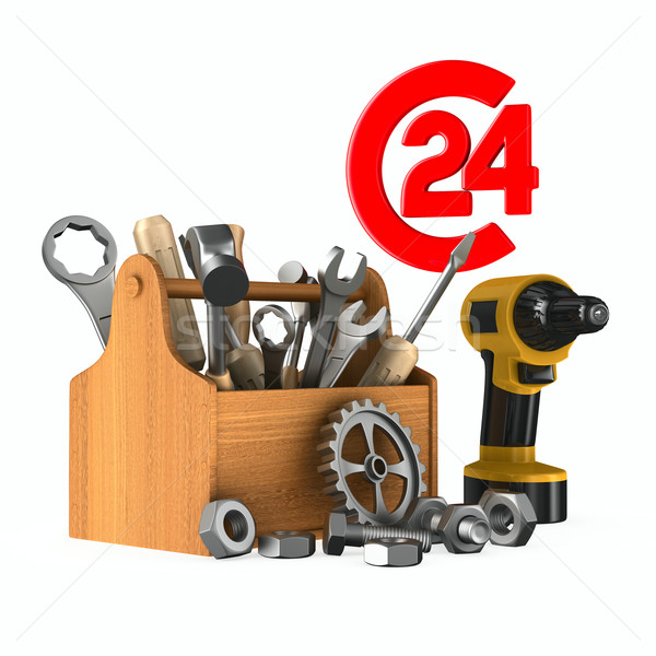 Service 24 hours. Isolated 3D image Stock photo © ISerg