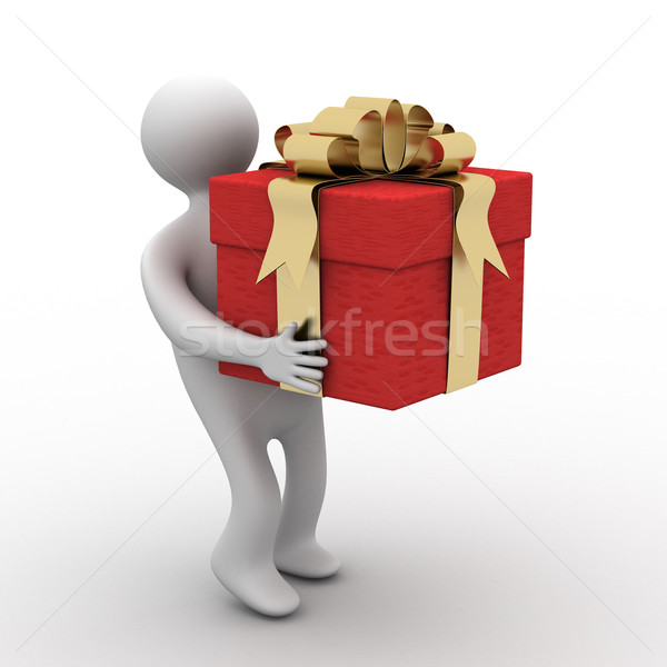 person bearing a gift box. 3D image. Stock photo © ISerg