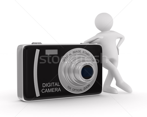 man with compact digital camera. Isolated 3D image Stock photo © ISerg